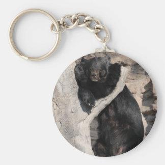 Asian Black Bear Basic Round Button Keychain