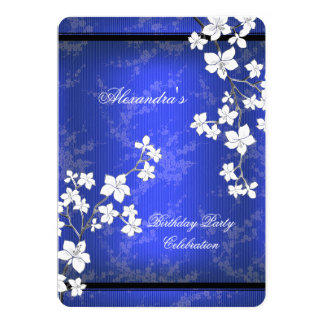 Asian Blue Black Blossom White Birthday Party Card
