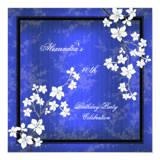 Asian Blue Black Blossom White Birthday Party Announcements