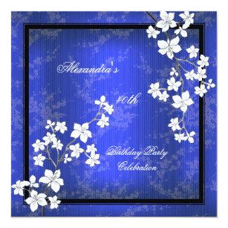 "Asian Blue Black Blossom White Birthday Party 5.25"" Square Invitation Card"