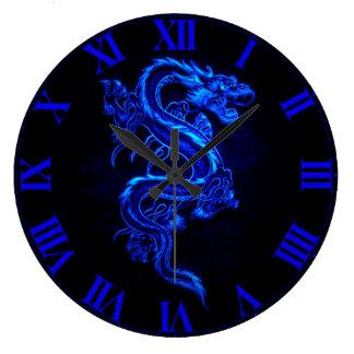 Asian Blue Dragon Wall Clock