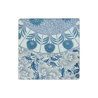 Asian Blue Floral Pattern Elegant Stone Magnet