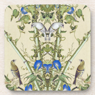 Asian Blue Morning Glory Flowers Birds Coaster