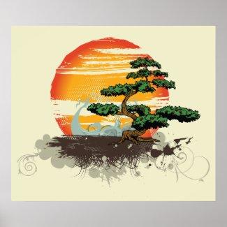 Asian bonsai and sun custom print poster