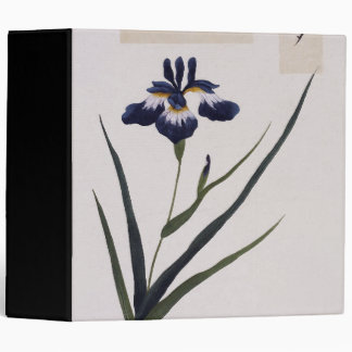 Asian Botanical Iris Flowers Watercolor Binder