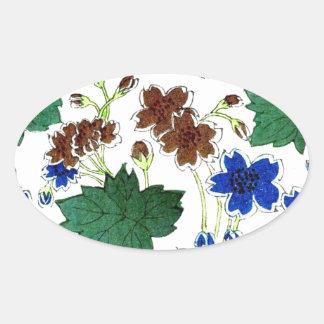 Asian  Botanical Oval Sticker
