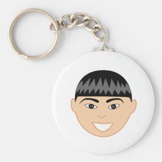 Asian Boy Face Basic Round Button Keychain