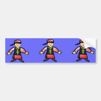 Asian Boy in Traditional Chinese Clothing Cartoon Bumper Sticker