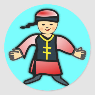 Asian Boy in Traditional Chinese Clothing Cartoon Classic Round Sticker