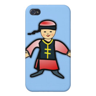Asian Boy in Traditional Chinese Clothing Cartoon iPhone 4 Cover
