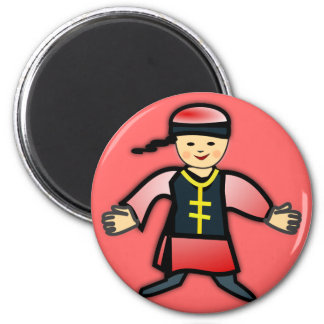 Asian Boy in Traditional Chinese Clothing Cartoon Magnet