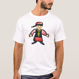 Asian Boy in Traditional Chinese Clothing Cartoon T-Shirt