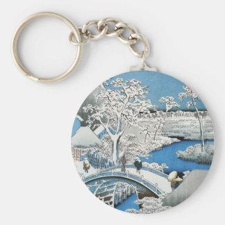 Asian Bridge and Snow Landscape Keychain
