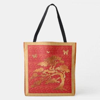 Asian Brocade & Tree Tote Bag