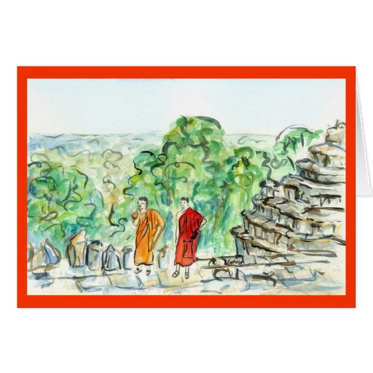 Asian Buddhist Monk Greeting Card or Note Cards