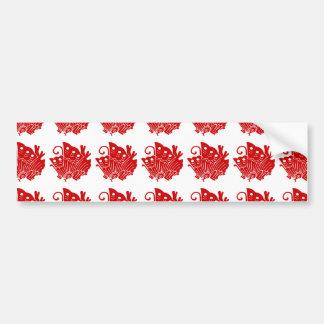 Asian Butterfly Japanese Kamon Design Bumper Sticker
