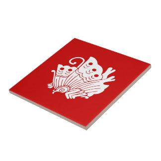 Asian Butterfly Japanese Kamon Design Ceramic Tile