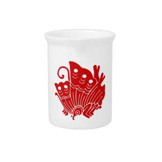 Asian Butterfly Japanese Kamon Design Drink Pitchers