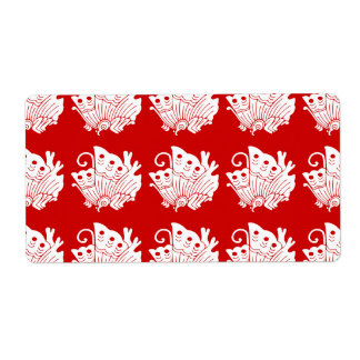 Asian Butterfly Japanese Kamon Design Label