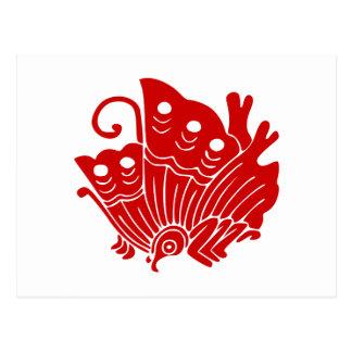 Asian Butterfly Japanese Kamon Design Postcard