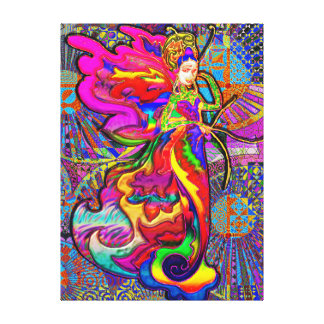 Asian Butterfly Woman Canvas Print
