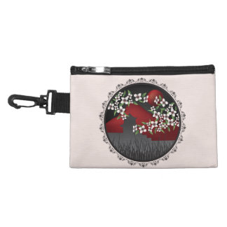 Asian castle blossom red and lace clip-on bag