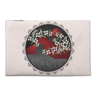 Asian castle blossom red and lace cosmetic bag