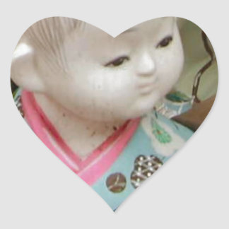 Asian ceramics, figure of a baby heart sticker