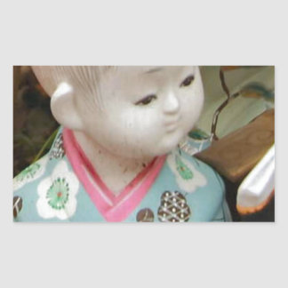 Asian ceramics, figure of a baby rectangular sticker