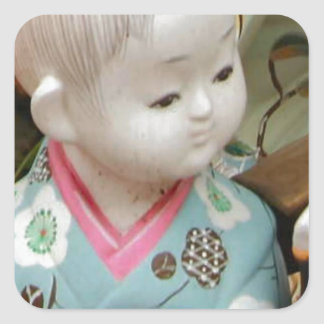 Asian ceramics, figure of a baby square sticker