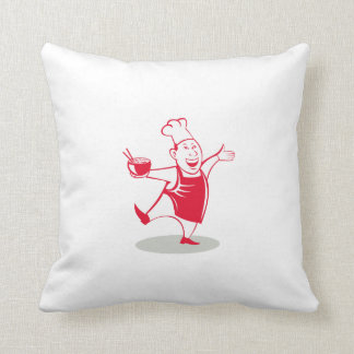 Asian Chef Serving Noodle Bowl Dancing Cartoon Throw Pillow
