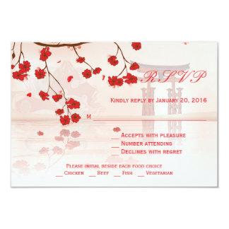 Asian cherry blossom wedding RSVP card