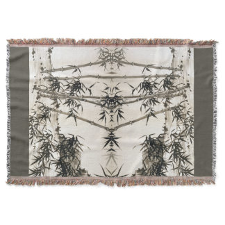 Asian Chinese Bamboo Leaves Throw Blanket