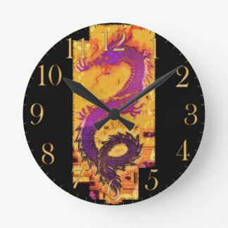 Asian, Chinese,Mythical Dragon, Year of the Dragon Round Clock