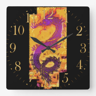 Asian, Chinese,Mythical Dragon, Year of the Dragon Square Wall Clock