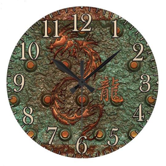 Asian Copper Dragon Fantasy Art Clock
