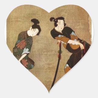 Asian Couple Heart Sticker