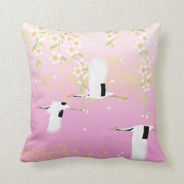 sterlingnights Asian Cranes cherry blossoms pink floral birds Throw Pillow