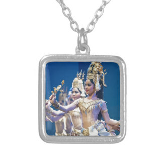 Asian Dancers Silver Plated Necklace