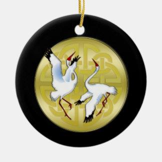 Asian Dancing Cranes on Golden Circle Ceramic Ornament