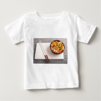 Asian dish of rice noodle in a small wooden bowl baby T-Shirt