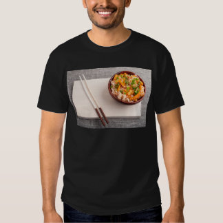 Asian dish of rice noodle in a small wooden bowl t shirt