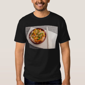 Asian dish of rice noodles in a small wooden bowl t shirt