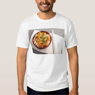 Asian dish of rice noodles in a small wooden bowl t-shirt