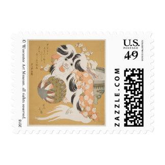 Asian Dog Postage Stamp