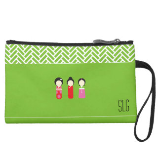 Asian Dolls Sueded Clutch with Intials-Weave