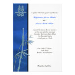 Asian Double Happiness Blue Wedding Invitation