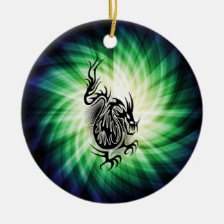 Asian Dragon Design; cool Double-Sided Ceramic Round Christmas Ornament