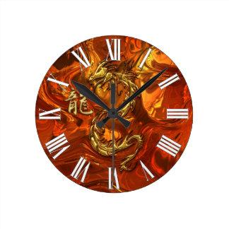 Asian Dragon & Gold Kanji Molten Metal Wall Clock