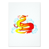 Asian Dragon in Clouds Custom Invitations
